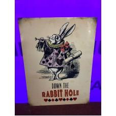Rabbit Hole Tin Sign