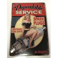 Dependable Service Small Tin Sign