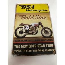 BSA Gold Small Tin Sign